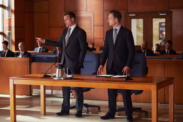 "SUITS -- ""Toe to Toe"" Episode 505 -- Pictured: (l-r) Gabriel Macht as Harvey Specter, Patrick J. Adams as Michael Ross -- (Photo by: Shane Mahood/USA Network)"