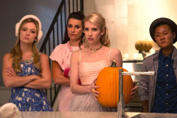 "SCREAM QUEENS: Pictured L-R: Billie Lourd as Chanel #3, Lea Michele as Hester, Emma Roberts as Chanel Oberlin and Jeanna Han as Sam in the ""Haunted House"" episode of SCREAM QUEENS airing Tuesday, Oct. 6 (9:00-10:00 PM ET/PT) on FOX. ©2015 Fox Broadcasting Co. Cr: Hilary Gayle/FOX."