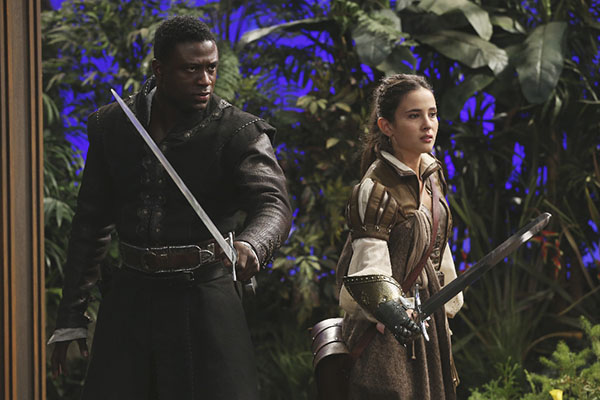 "ONCE UPON A TIME - ""The Broken Kingdom"" - After receiving a cryptic warning from Lancelot about Arthur's intentions, Mary Margaret realizes Arthur may be the heroes' biggest threat, but when she is unable to convince David of the danger, she takes matters into her own hands. Meanwhile, Hook's unwavering love for Emma provides a glimmer of hope in her struggle against the unrelenting voice of Rumplestiltskin. In a Camelot flashback, Guinevere senses that Arthur is losing his way, consumed by his obsession with making Excalibur whole, so she sets out with Lancelot on her own quest into the heart of darkness. In Storybrooke, Dark Emma unleashes a secret weapon in the next phase of her plan to find the brave soul she needs to draw Excalibur from the stone, on ""Once Upon a Time,"" SUNDAY, OCTOBER 18 (8:00-9:00 p.m., ET) on the ABC Television Network. (ABC/Jack Rowand) SINQUA WALLS, JOANA METRASS"